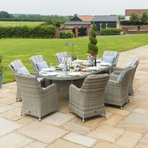 Maze Rattan Oxford Venice 8 Seat Oval Dining Set with Lazy Susan and Ice Bucket