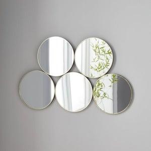 5 Circles Golden Metal Round Wall Mirror - 60cm x 38cm