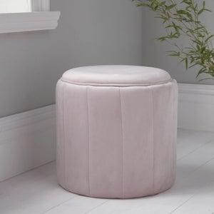 Pastel Pink Plush Round Stool