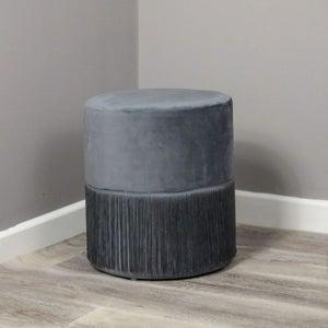 Tassles Grey Velvet Fabric Round Stool