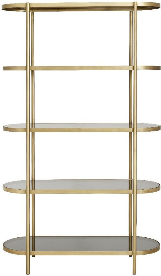 NORDAL Luxury Gold and Black Glass Oval Bookcase