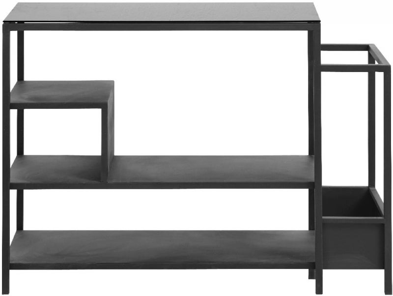 NORDAL Black Bookcase with Glass Top