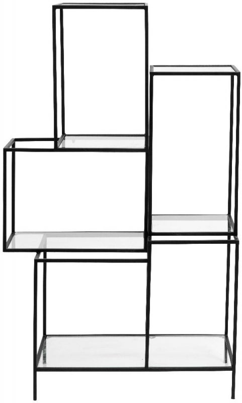 NORDAL Black and Glass Large Bookcase
