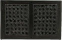 NORDAL Merge Black Rattan 2 Door Hall Cabinet
