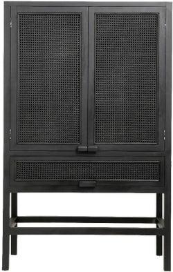 NORDAL Merge Black Rattan 2 Door Tall Hall Cabinet