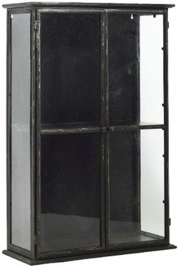 NORDAL Downtown Black 2 Door Glass Wall Display Cabinet
