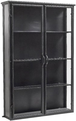 NORDAL Downtown Black 2 Door Glass Wide Wall Display Cabinet