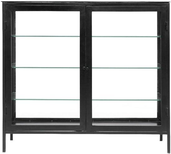 NORDAL Mondo Black 2 Door Wide Glass Display Cabinet