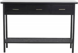 NORDAL Arda Black 3 Drawer Console Table