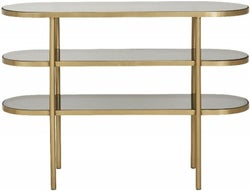 NORDAL Luxury Gold and Black Glass Oval Console Table