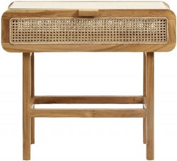 NORDAL Merge Rattan Console Table with Glass Top