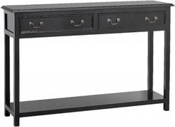 NORDAL Moss Black 2 Drawer Mango Wood Console Table