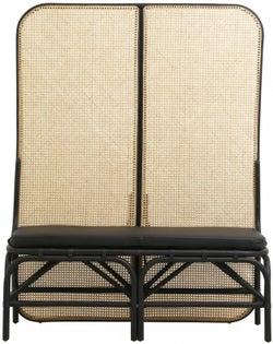 NORDAL Begna Black Room Divider Hall Bench with Leather Matt