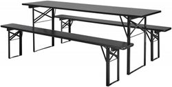 NORDAL Black Large Dining Table with 2 Bench