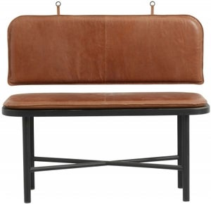 NORDAL Gila Brown Leather Bench