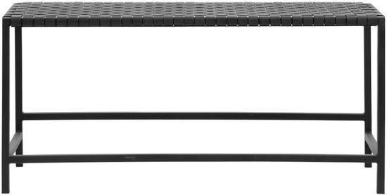 NORDAL Black Leather Weaving Bench