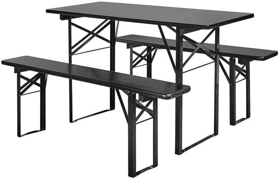 NORDAL Black Small Dining Table with 2 Bench