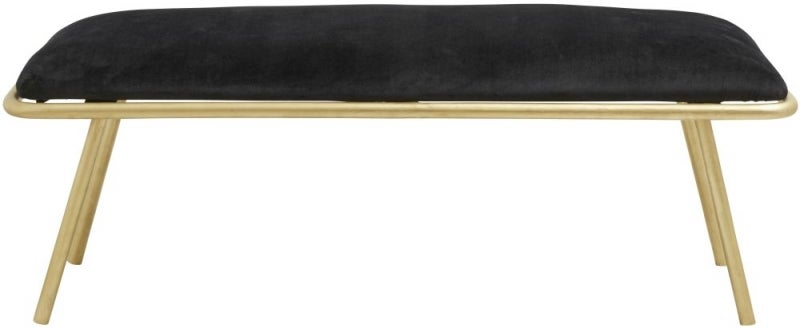 NORDAL Warm Black Bench with Golden Legs