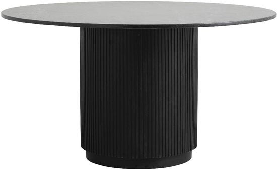 NORDAL Erie Black Marble Round Dining Table