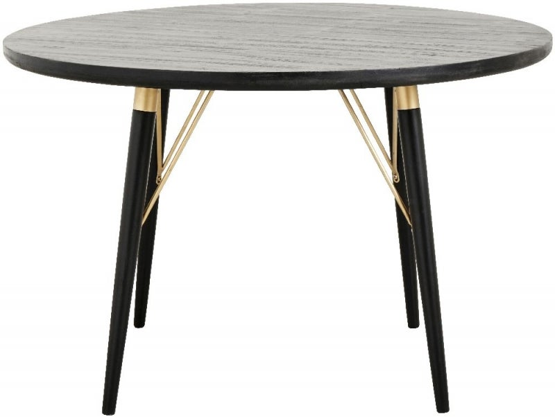 NORDAL Black and Gold Round Dining Table