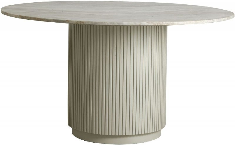 NORDAL Erie White Marble Round Dining Table