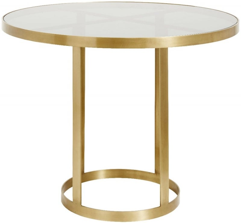 NORDAL Luxury Gold and Black Glass Round Dining Table