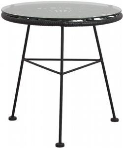 NORDAL Alba Black Garden Table with Glass Top