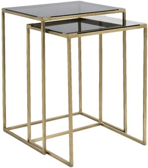 NORDAL Concept Black Glass and Gold Nest of 2 Table