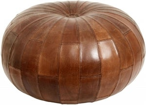 NORDAL Rugby Antique Brown Leather Pouffe