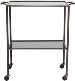 NORDAL Tone Black Glass Trolley Table