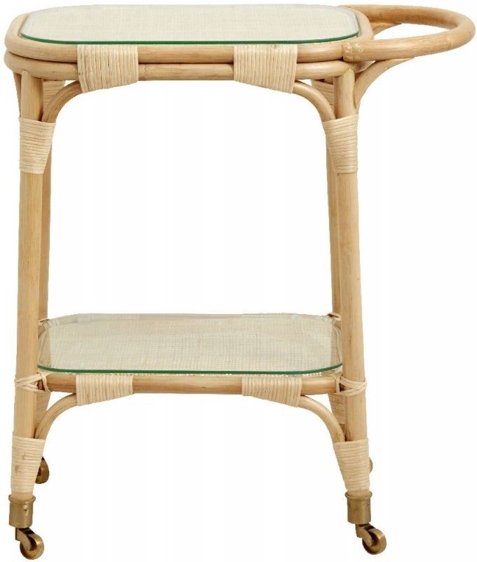 NORDAL Bali Rattan Trolley Table with Glass Top