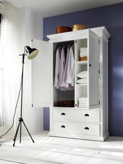 Nova Solo Halifax White 2 Door 2 Drawer Wardrobe