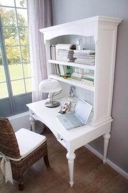 Nova Solo Provence White Secretary Desk with Hutch