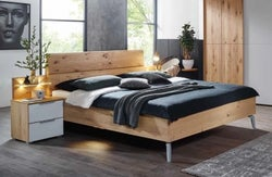 Rauch 20UP Partly Solid Wood Bed with Wooden Headboard