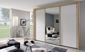 Rauch Amalfi 3 Door Mirror Sliding Wardrobe in Oak and Silk Grey - W 300cm