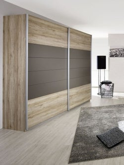 Rauch Barcelona 2 Door Sliding Wardrobe in Oak and Lava Grey - W 226cm
