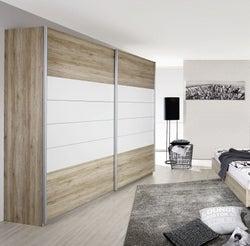 Rauch Barcelona 2 Door Sliding Wardrobe in Oak and White - W 226cm