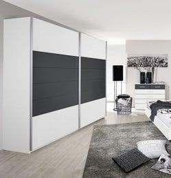 Rauch Barcelona 2 Door Sliding Wardrobe in White and Metallic Grey - W 226cm