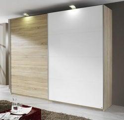Rauch Beluga Extra 2 Door Sliding Wardrobe in Oak and White - W 270cm