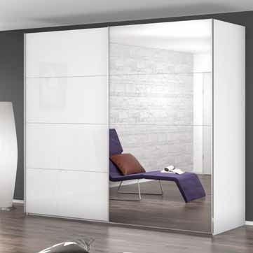 Rauch Beluga Extra 2 Door Sliding Wardrobe in High Gloss White - W 181cm