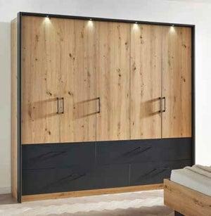Rauch Bilbao-Extra 5 Door 4 Drawer Combi Wardrobe in Artisan Oak and Metallic Grey - W 226cm