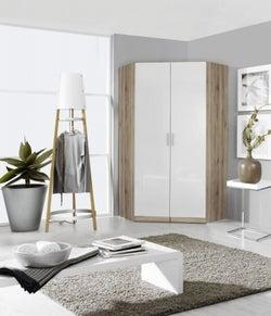 Rauch Celle 2 Mirror Door Corner Wardrobe In Sanremo Oak Light and High Gloss White - W 117cm