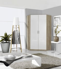 Rauch Celle 2 Mirror Door Corner Wardrobe In Sonoma Oak and High Gloss White - W 117cm