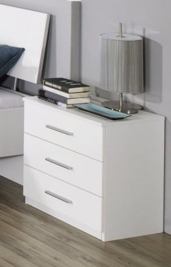 Rauch Celle 3 Drawer Bedside Cabinet in Alpine White and High Gloss White