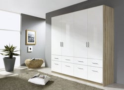 Rauch Celle 4 Door 8 Drawer Combi Wardrobe in Sonoma Oak and High Gloss White - W 181cm