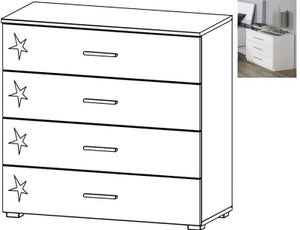 Rauch Celle 4 Drawer Wide Chest in Alpine White and High Gloss White
