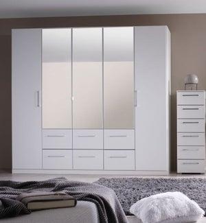 Rauch Ellesse 5 Door 6 Drawer Combi Wardrobe in Alpine White - W 136cm