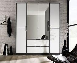 Rauch Essensa 4 Door Combi Wardrobe in Metallic Grey and White - W 181cm