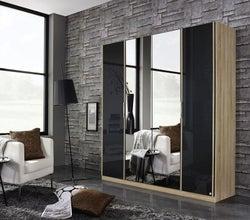 Rauch Essensa 4 Door Mirror Wardrobe in Oak and Basalt Glass - W 181cm