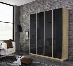 Rauch Essensa 4 Door Wardrobe in Oak and Basalt Glass - W 181cm